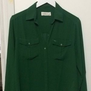 Abercrombie & Fitch green blouse green jewel tone